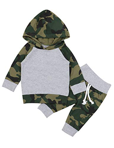 Boy Girls Camouflage Clothes Hooded T-Shirt Tops Outfits + Pants Sets(12-18Months) ()