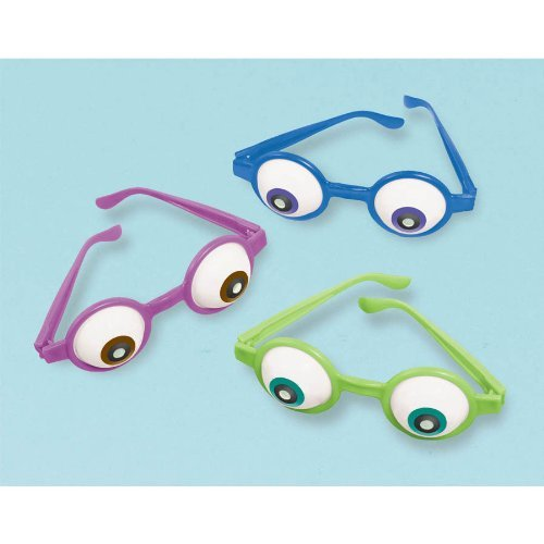(Amscan Mons Terrific Disney Monsters University Eyeball Glasses Costume Party Accessory Favor and Prize Giveaway (6 Piece), Multicolor, 5 1/2