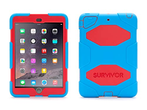 Griffin Survivor All-Terrain iPad mini Case and Stand with Touch ID - Impact-Resistant and Rugged Design, Blue/Red