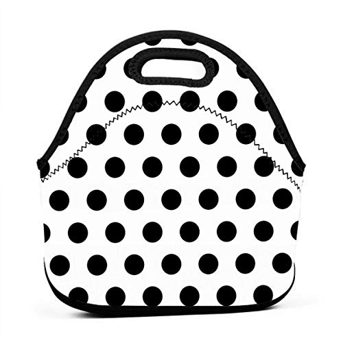 WONDERMAKE Black Polka Dot Pattern Hand Lunch Bags Insulated Thermal Cooler Outdoor School Office Travel Picnic Lunchbox Tote Handbag Women Teens Girls Kids Adults ()