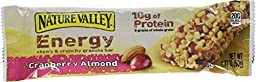 Nature Valley Energy Chewy & Crunchy Granola Bar, Cranberry Almond, 1.77 oz Bars (Pack of 30)
