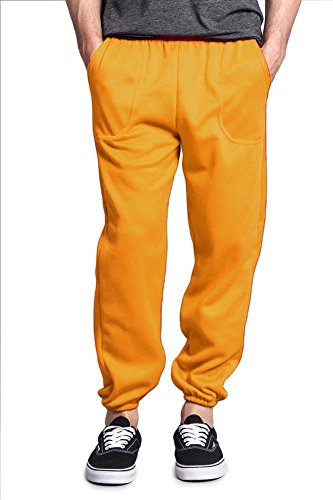 Victorious G-Style USA Men's Elastic Cuff Fleece Sweatpants - HILLSP - Gold - 3X-Large by Victorious