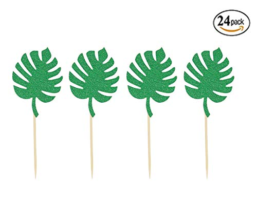 - 24 Pack Tropical Palm Leaves Donut Topper Monstera Leaf Cupcake Toppersfor Hawaiian Luau Summer Tropical Party Cupcake Decorations by Ucity
