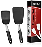 nonstick spatula - Turner Set | 2 Pack | Large and Small Kitchen Spatulas | Stainless Steel & Silicone | Non-Stick and Heat Resistant Utensils for Cooking, Flipping and Pressing (UpGood Kitchen Tools, Shadow Black)