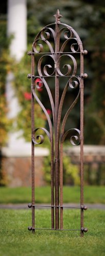 H Potter Italian Iron Garden Trellis-Durable, Elegant, Metal Trellis Lawn Decor with Powder Coat Finish- Hand Cut, Heavy Scroll Iron, Easy to Stake, No Assembly Needed, All Weather Yard Art (Country Garden Trellis)