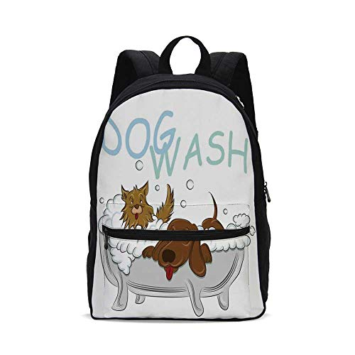 Nursery Fashion Canvas printed Backpack,Playful Dogs in a Bathtub Grooming Each Other Cute Pets Theme Illustration for school,One_Size