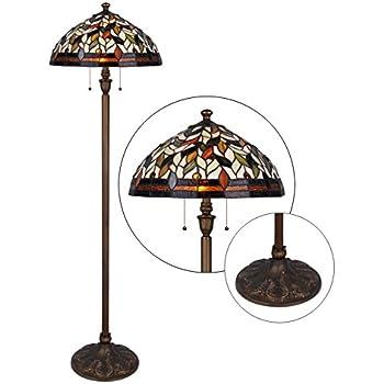 Tiffany Style Floor Lamp 62 Inch Height 2 Light 18 Inch Shade Wilsons Lighting Varese Series