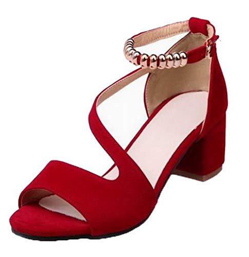 VogueZone009 CCALP015619 Kitten Women Toe Red Open Sandals Buckle Heels Frosted fCfwrxqn8
