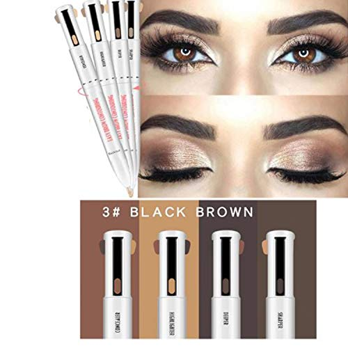 4 in 1 Easy to Wear Eyebrow Contour Pen Defining & Highlighting Brow, Eyebrow Outline Tattoo Pen Eyebrow Pencil (Black Brown)