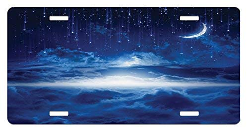Gloss Mysterious - zaeshe3536658 Fantasy License Plate, Night Sky with Moon Falling Stars Clouds Horizon Mysterious Space Art, High Gloss Aluminum Novelty Plate, 6 X 12 Inches, Navy Blue and White