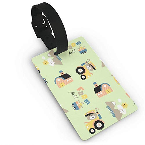 Farm Field Cartoon with Funny Farmer Drive Tractor On Pattern Luggage Tags Travel Suitcase Labels Thick Bag Tag Business Card Holder with Adjustable Strap