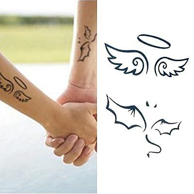 Oottati Petit Mignon Tatouages Temporaires Ange Bras Demon Bras Set