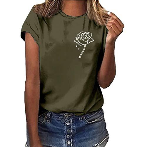 Benficial Women Girls Plus Size Print Shirt Short Sleeve T Shirt Blouse Tops Army Green -
