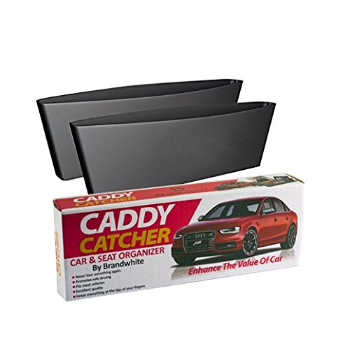 Caddy Catcher and Car Seat Organizer By Brandwhite; - Extra Durable Side Gap Pocket For Wallet, Phones, Maps, Cash & Glasses-Spacious, Best Car Storage (Pack Of 2) (Side Of Car Seat compare prices)