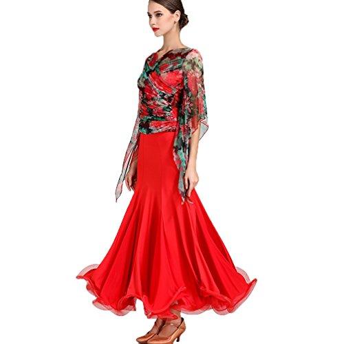 Nazionali Sala Wqwlf Danza Prestazione Maniche Per Abbigliamento 2 Rete A Donne Valzer Costumi Moderna l L Da Ballo Red Competizione Di Abiti Suit Stampato Pezzi arqaEHw