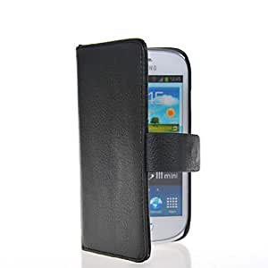 HKCFCASE Litchi Skin Wallet Card Holder Pouch Flip Leather Shell Case Cover With Screen Protector For Samsung Galaxy S3 Mini I8190 Black