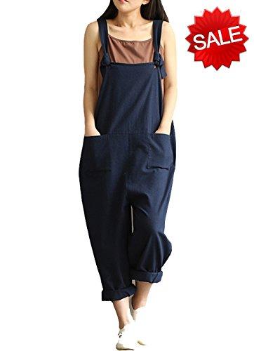 YAELUCKY Women Cotton Linen Overalls Adjustable Strap Pattern Sleeveless Jumpsuit With Pockets