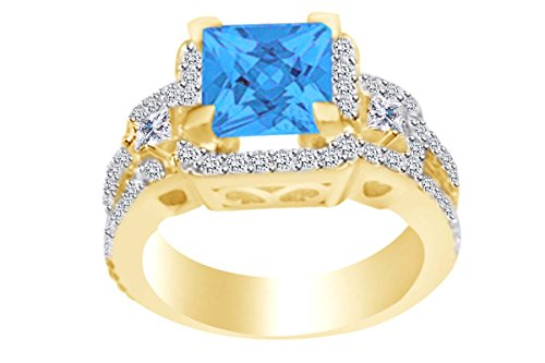 (AFFY Square Simulated Blue Topaz & White CZ Solitaire Engagement Ring in 14k Yellow Gold Over Sterling Silver Ring Size-6.5)
