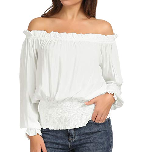 Women's Renaissance Pirate Shirt Off Shoulder Peasant Blouse