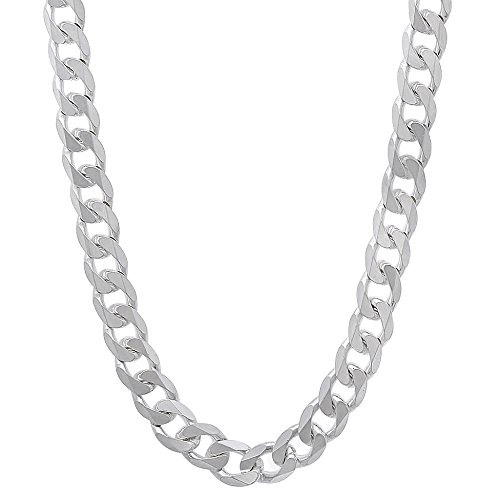 5.5mm Solid 925 Sterling Silver Beveled Cuban Curb Link Italian Chain, 24