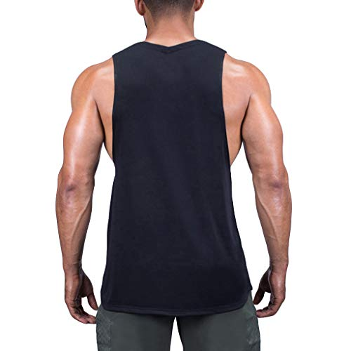 Men Tank Tops Workout Summer Casual Fashion Fitness Pure Color Breathable Sports Vest Top Blouse by Dainzuy Black by Dainzuy Men Tops (Image #2)