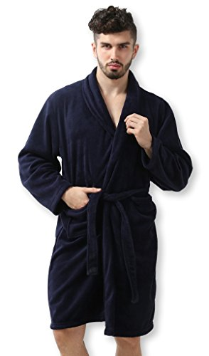 Pembrook Men's Robe – Navy - Size L/XL - Soft Fleece – Hotel Spa Bathrobe (Male Robes)