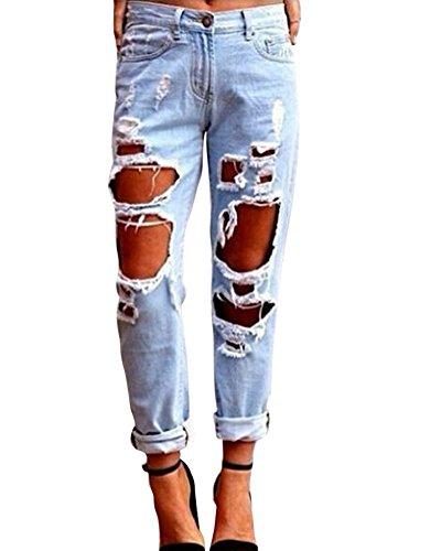 Chiaro Stretch Lunghi Strappato Denim Azzurro Donna Sottili Jeans Matita Pantaloni tqzTACw