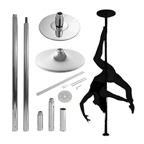 BEAMNOVA Strip Pole Dance Pole Professional Fitness Dancing Pole Kit for Home Bedroom Gym Party Club Indoor Exercise (Silver) ()