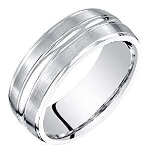 Mens 14K White Gold Wedding Ring Band 7mm Brushed Matte Comfort Fit Sizes 8 to 14