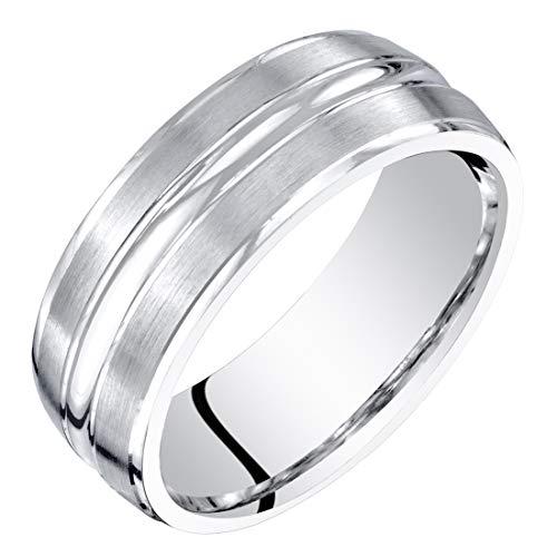 Mens 14K White Gold Wedding Ring Band 7mm Brushed Matte Comfort Fit Size ()