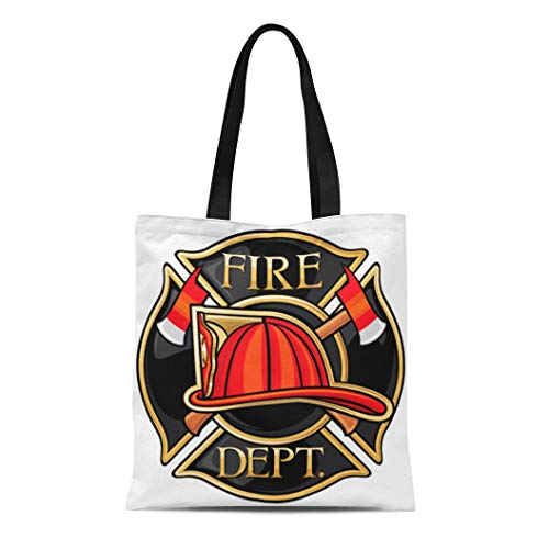 Semtomn Canvas Tote Bag Red Badge Fire Department Firefighters Maltese Cross Symbol Truck Durable Reusable Shopping Shoulder Grocery - Cross Maltese Brown