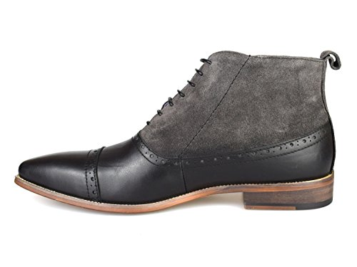 Gucinari Luciano Black & Grey Leather Formal Brogue Boots D273-4 HvEhPNcb