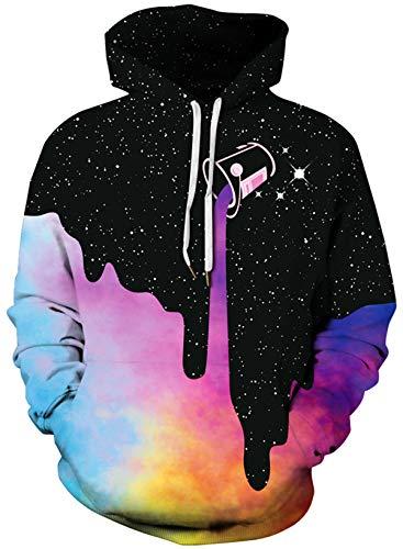 KIDVOVOU Unisex Realistic 3D Unicorn Print Pullover Hoodie Kids Hooded Sweatshirt,Colorful Milk,Small/Medium