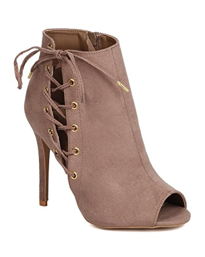 Qupid FH88 Women Faux Suede Peep Toe Corset Lace Up Stiletto Bootie - Taupe