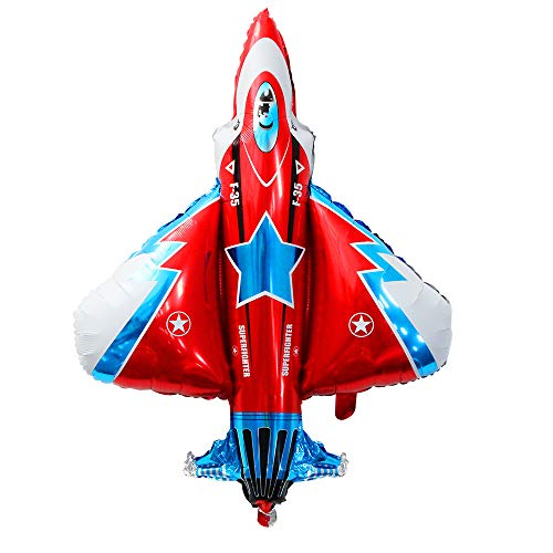 - Fighter Jet Airplane Balloon Fighter Jet Foil Shaped Balloon features bright Colors of Red Blue and White Kids Birthday Party Decoration Supplies