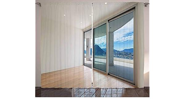 Decoración moderna cortinas por Ambesonne, ático, habitación con ...