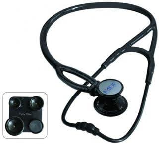 MDF Instruments ProCardial ERA - Cardiología Estetoscopio ligero de doble cabeza de acero inoxidable con membrana convertible adulto, pediátrica e infantil-neonatal, Todo Negro