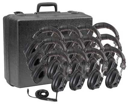 Califone International 3068-12 Set Of 12 Switchable Stereo-Mono Headphones With Carry Case