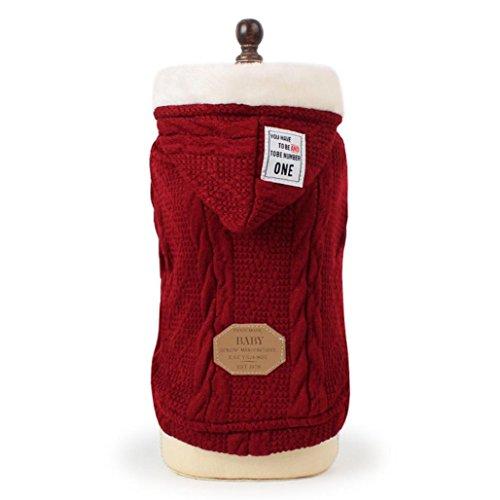(HCFKJ Pet Costume Handmade Pet Sweater Hoodie, Puppy Winter Warm Jacket Coat Apparel (M,)