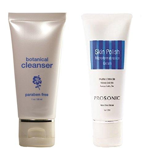 NutraLuxe/Prosonic Botanical Facial Cleanser (Paraben Free) & Skin Polish Microdermabrasion Crystal Cream - Travel Size Tubes (1 oz)