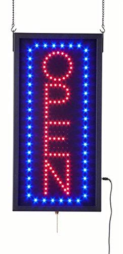 displays2go Vertical animado Letrero De Led con 3diferentes modos de iluminación reads 'Open', neón rojo y azul bombillas...