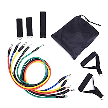 Jinjin Rally Fitness Fitness Rope 11-Piece Set Multifunctional Door Training Equipment Combination Rally Tension Belt Resistance Band Yoga Exercise Fitness Bands Exercise Bands