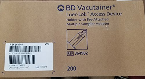 BD VACUTAINER LUER ADAPTERS Male Luer-Lok Adapter , Pre-Attached Holder, 200/cs (Site Male Luer Lock)