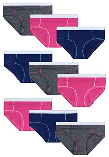 Rene Rofe Girl\'s Cotton/Spandex Hipster Underwear (9 Pack) (Large / 10-12, Charcoal Heather/Fuchsia/Navy)'