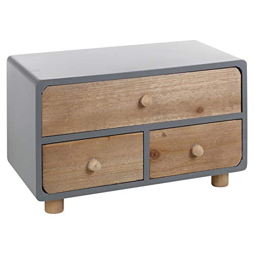 Geko Tall 4 Drawers Wooden Storage 23 x 13 x 34 cm Wood Brown 34x13x23 cm