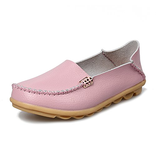 fereshte Womens Fashion Genuine Leather Loafers Casual Slip-on Soft-soled Flat Shoes for Driving Shopping Low-cut Pink NMSMI4