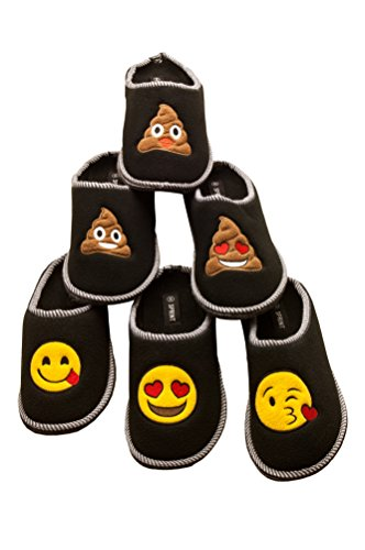 Kinder Vlies Smiley mit ABS hochwertig Schlappen Pantoffeln mit Hausschuhe Schwarze Emoji für Sohle Emoji aus gestickten Zunge und Motiven Fleece qwfUtXTx