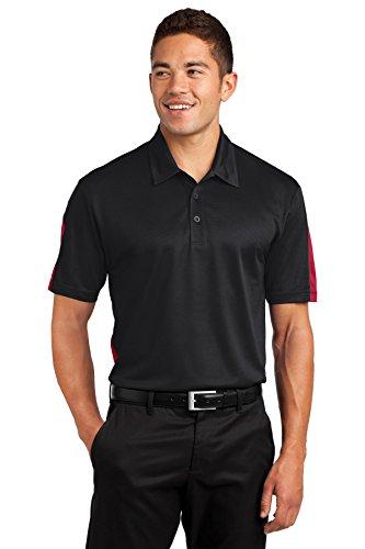Sport-Tek Men's PosiCharge Active Textured Colorblock Polo XL Black/True Red