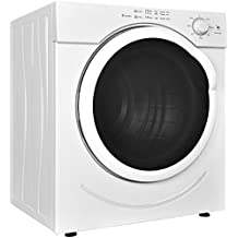Costway Electric Tumble Dryer Compact Stainless Steel Clothes Laundry Dryer 27lb. Capacity/3.21 Cu.Ft. with Timer Control (White)