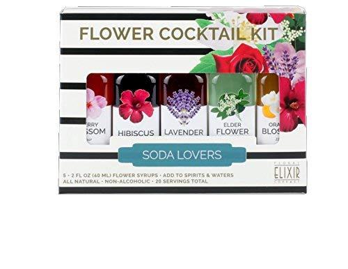 Handcrafted Floral Elixir Cocktail and Soda Kit - Lavender Cherry Blossom Elderflower Orange Blossom Hibiscus ()